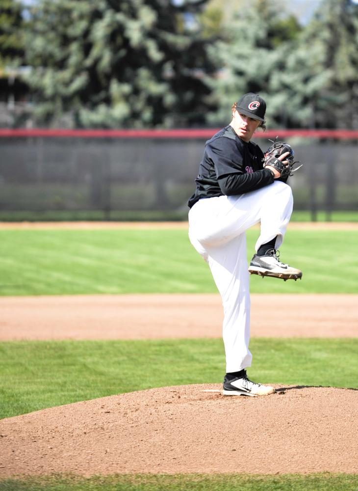 Junior Mackenzie Gaul pitches in CWU's 11-7 loss to Western Oregon University on April 28.