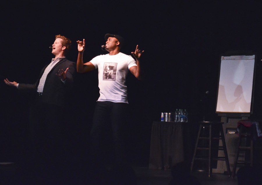 Scene: Wayne Brady's stand-up improv act wows students Friday night in the SURC