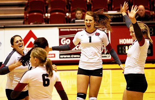 SPIKE - #1 Rachel Hanses and Kaitlin Quirk celebrate a play.