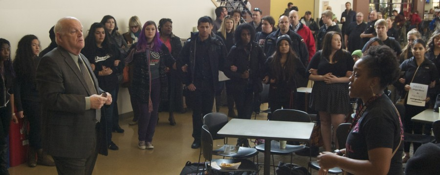 Central Washington University President James Gaudino and Nina Caldwell, Associated Students of CWU (ASCWU) vice president for Legislative Affairs, talked about the issues surrounding student government at CWU, namely there only being one black officer on the board.