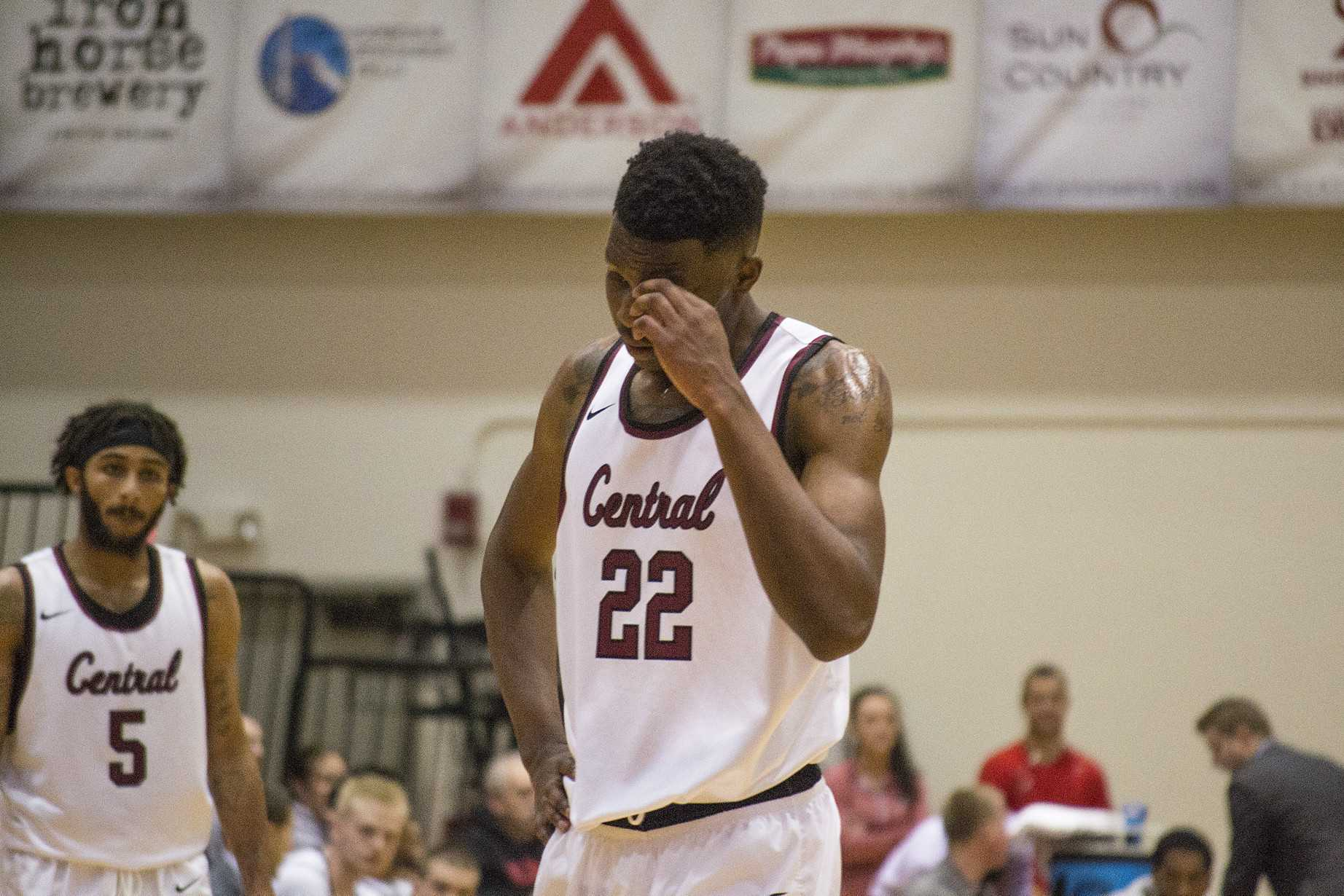 Senior forward Joseph Stroud shows frustration during the Wildcats' 21-point loss.
