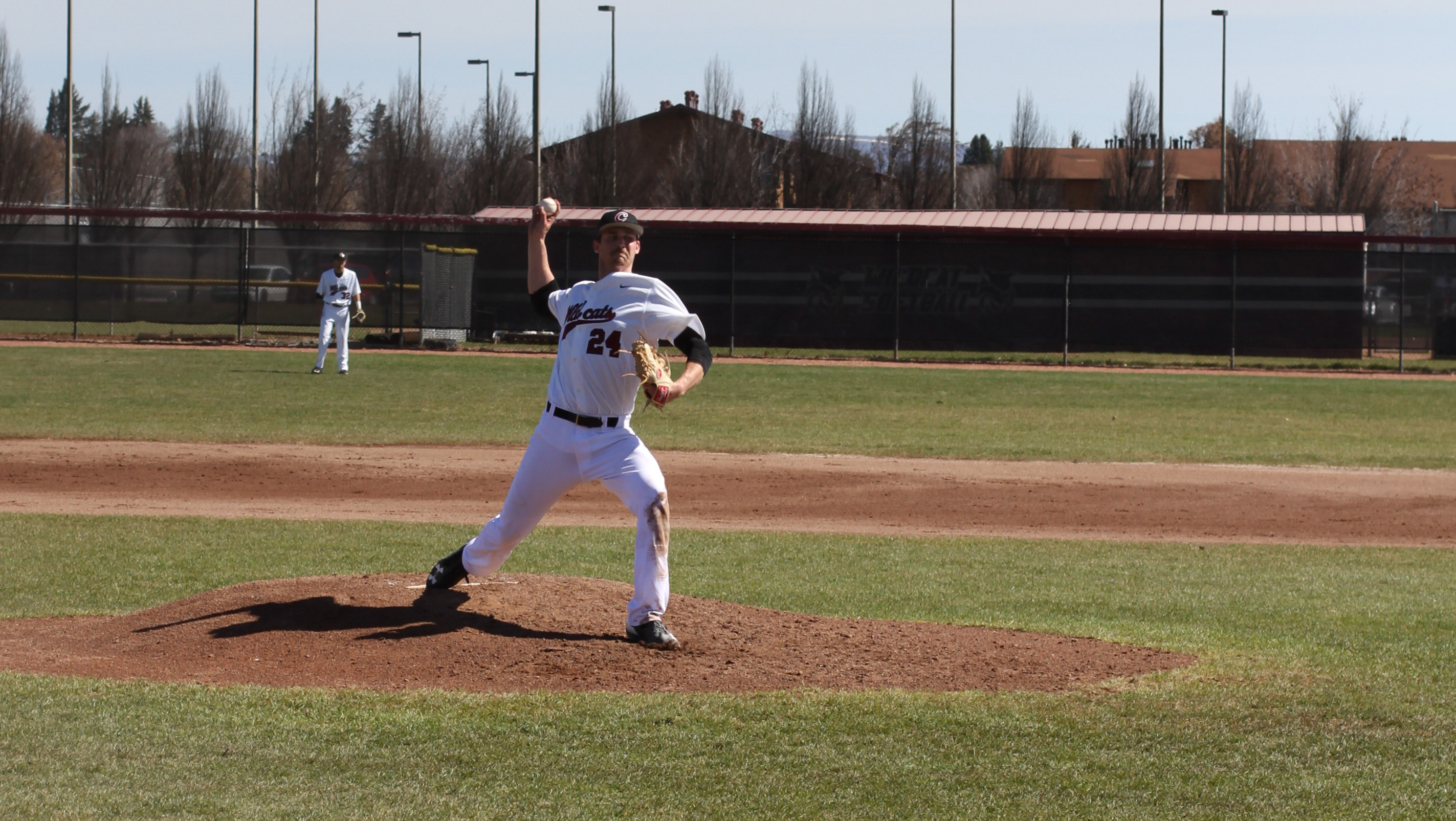 Jake Levin throwing a pitch during his three-run, complete-game performance against Montana State University Billings.