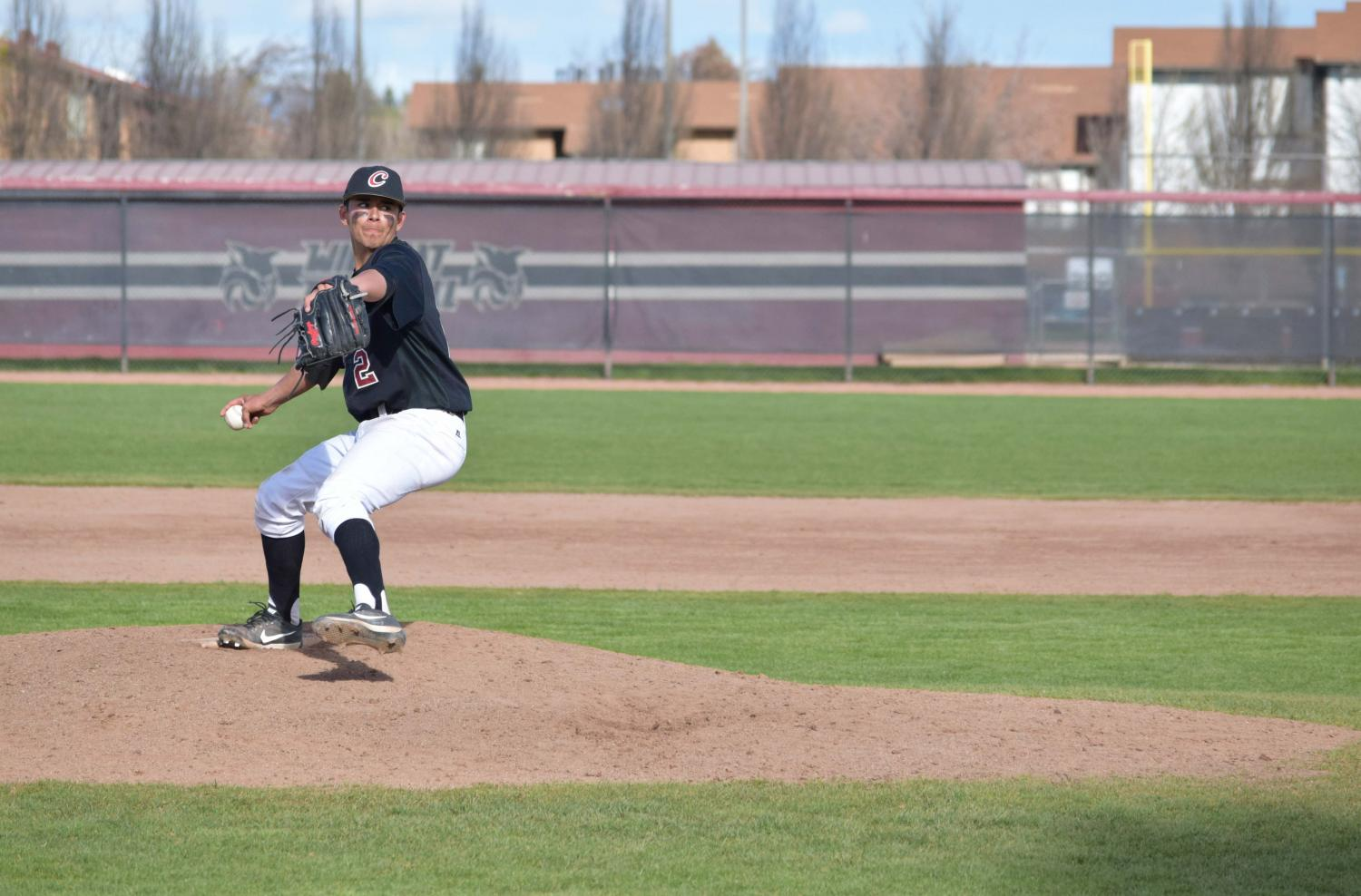 Junior Chris Dalto pitching during a four-game series against Saint Martin's University. Dalto has appeared in 43 out of 46 games for the Wildcats.