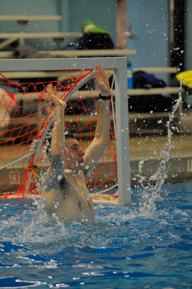 The CWU Water Polo club's goalie during a practice at the Aquatic Center.