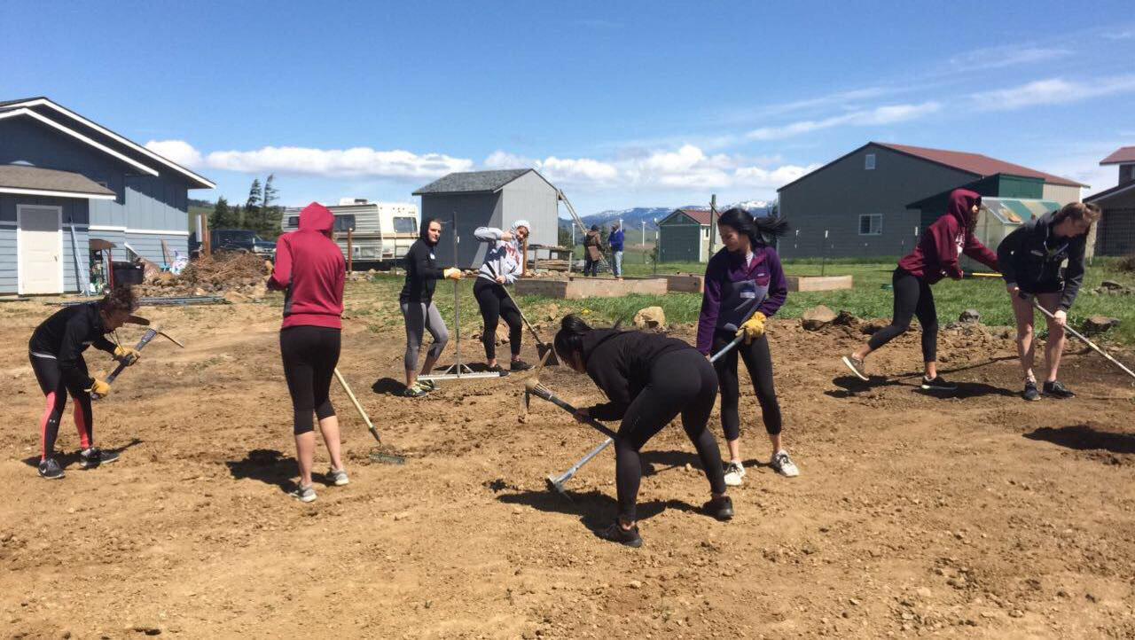 Six+CWU+volleyball+players+helps+assist+with+rake+the+dirt+for+one+of+their+service+projects.