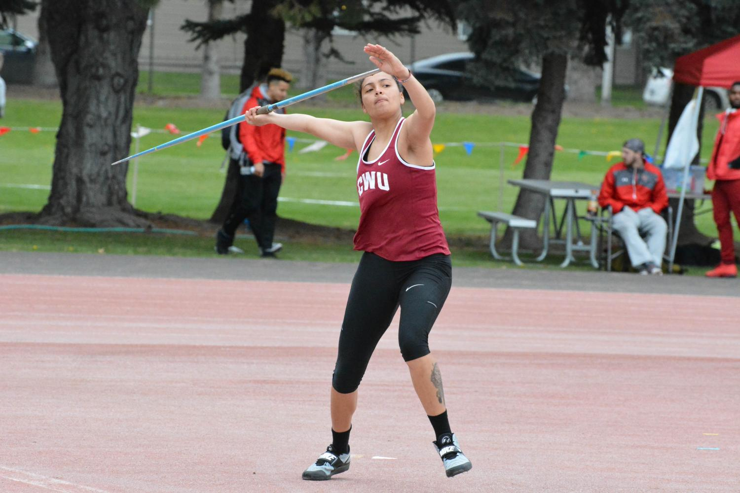Angelique+Whistocken+throws+the+javelin+at+the+CWU+Final+Qualifier+on+Friday+May+5+at+Tomlinson+Stadium.++
