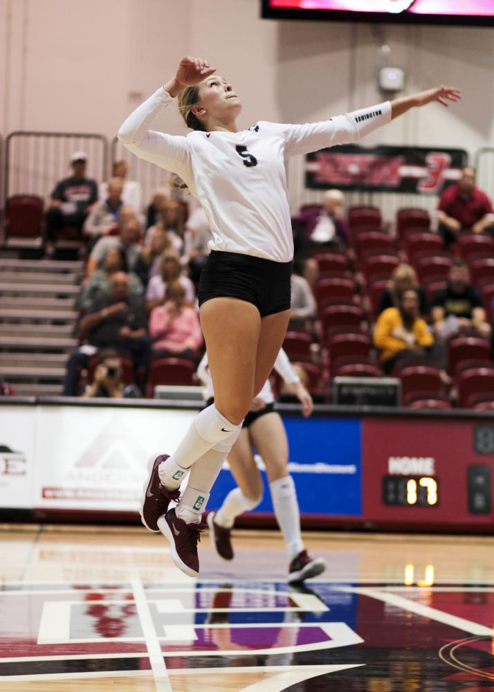 Shelby Mauritson rises toward the ball during a home match on Sept. 28.