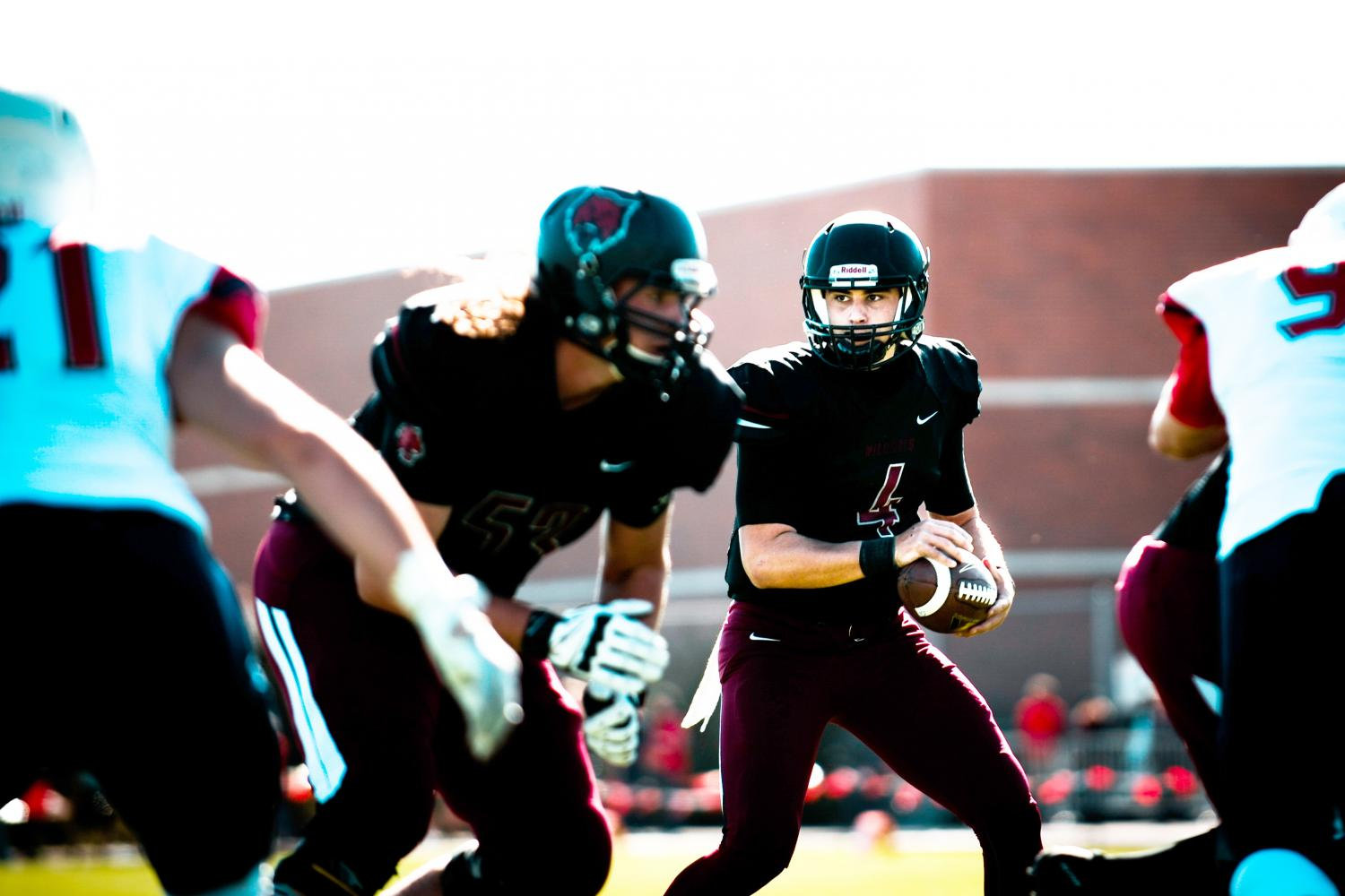 Reilly Hennessey considers his next move during the Sept. 30 game against Simon Fraser. CWU won the game 62-0.