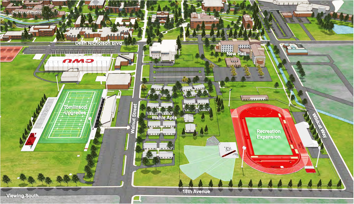 The new dormitory would be built on the corner of Wildcat Way and Dean Nicholson Boulevard, where the CHCI currently is. The recreation expansion will be tailored for track and field, while Tomlinson will receive an upgrade predominantly for soccer and football. Courtesy of Lathan Wedin.
