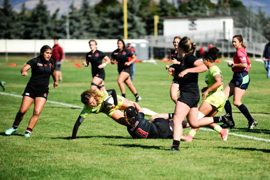CWU Women's Rugby collides with their Life University competitors during a home match. The women are currently 4-3.