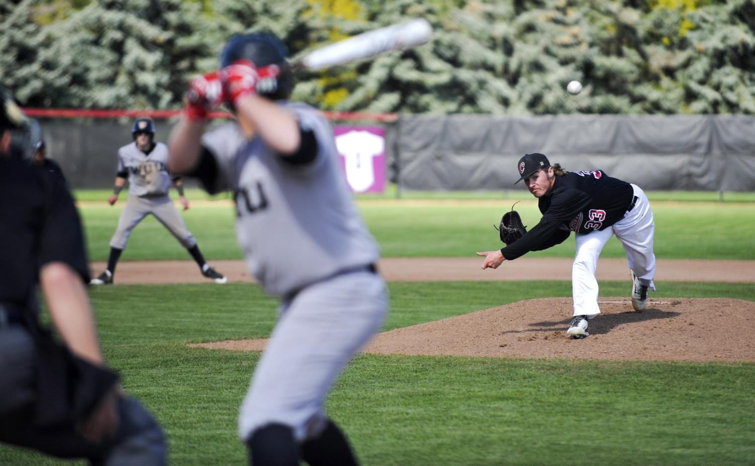Mackenzie Gaul throws a pitch during a CWU home baseball game last season. Gaul is entering his final season as a Wildcat.