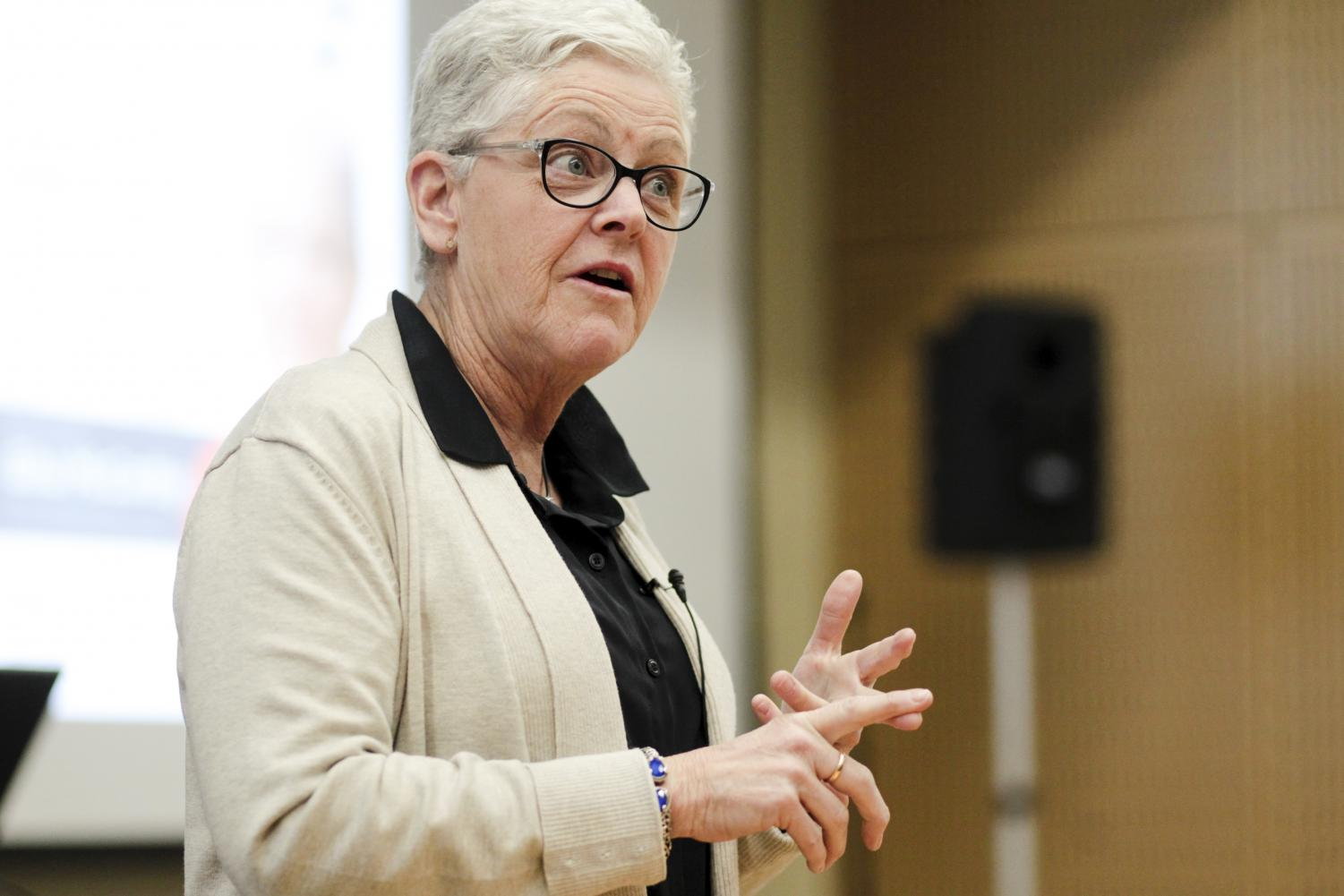 Gina McCarthy speaks on her experiences with the EPA to students in Science II.
