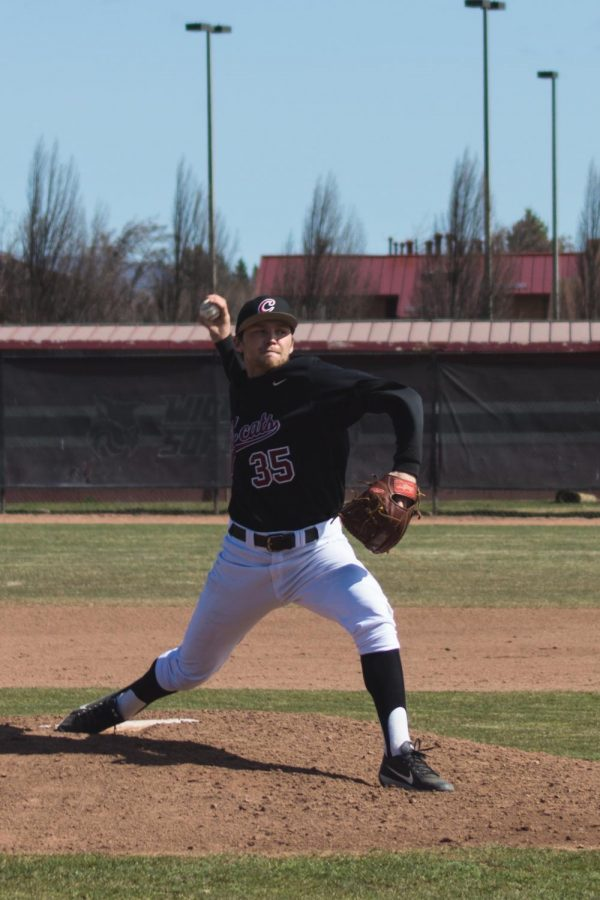 Senior pitcher Dom Baker attempts to bring CWU back from a 5 run deficit against Montana State Billings University in the bottom of the fourth inning.