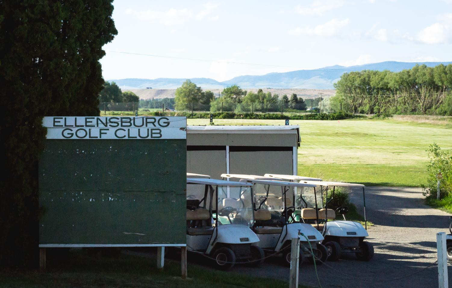Beautiful views over-looking the driving range at the Ellensburg Golf Club.