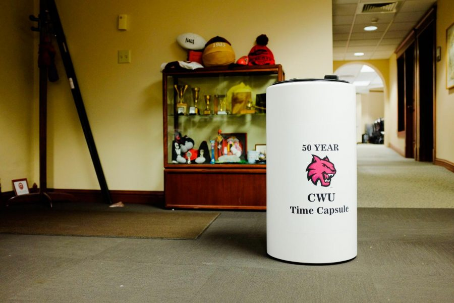The 50-year CWU time capsule sits in the alumni office in the first floor of Barge until it gets buried.