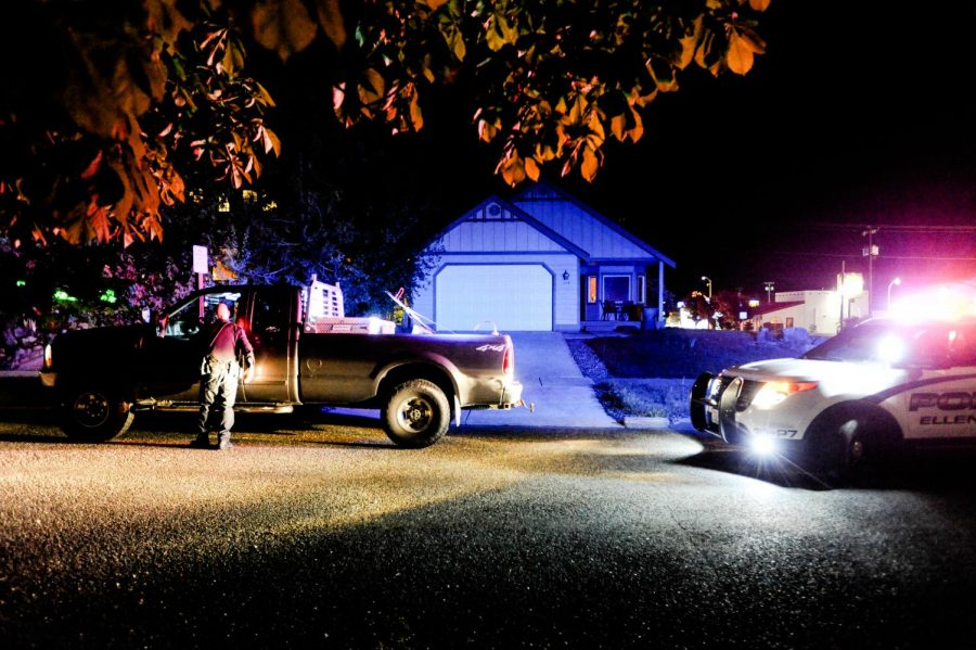 An Ellensburg police officer performs a traffic stop at around 1 a.m. on a Thursday night.