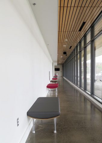 A hallway in the new Samuelson STEM building