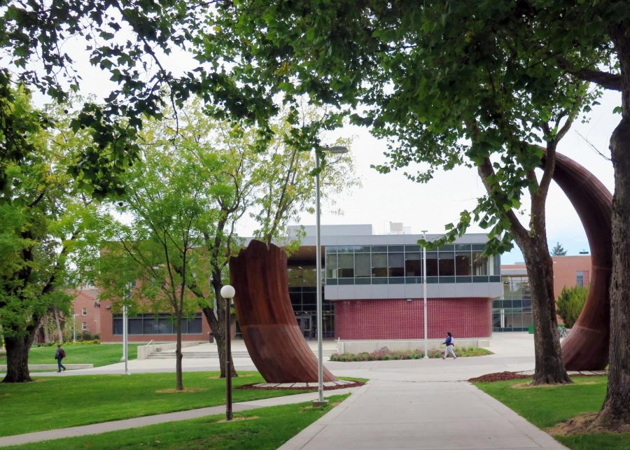 Mammoth tusk sculpture frames the new Samuelson STEM building