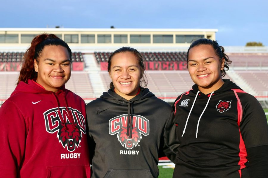 (From left to right) Sisters Tiara, Suiluana, and Tiana A'au play together on CWU's Women's Rugby team.
