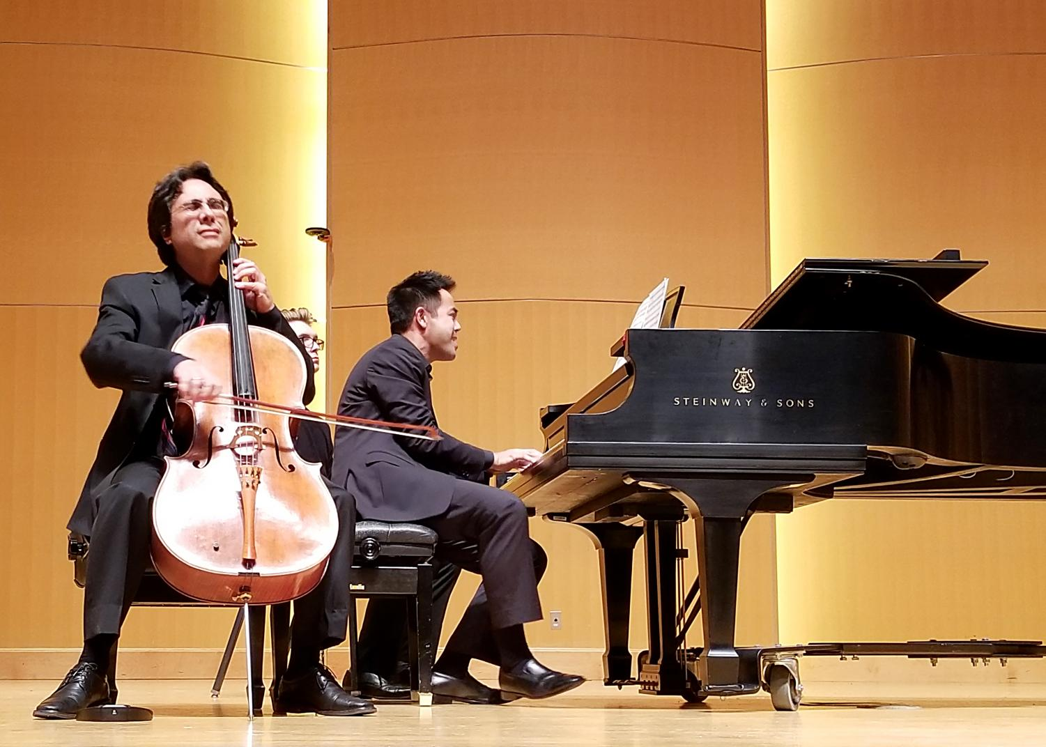 Professor John Michel and Nikolas Caoile performing Pampeana No. 2 by Alberto Ginastera at the Central Cello Celebration Finale Concert Saturday night.