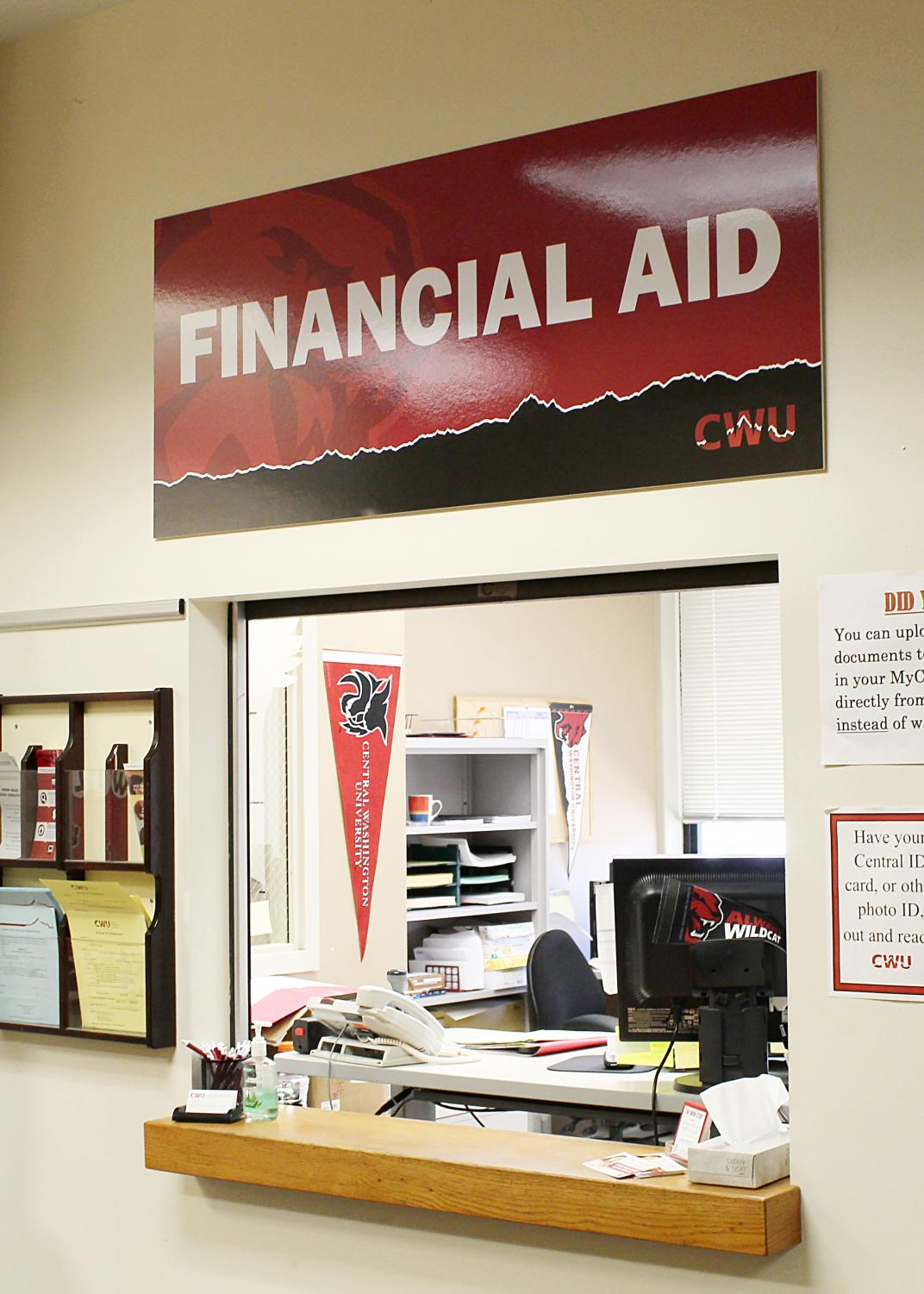 Financial Aid's welcome window in Bouillon Hall.