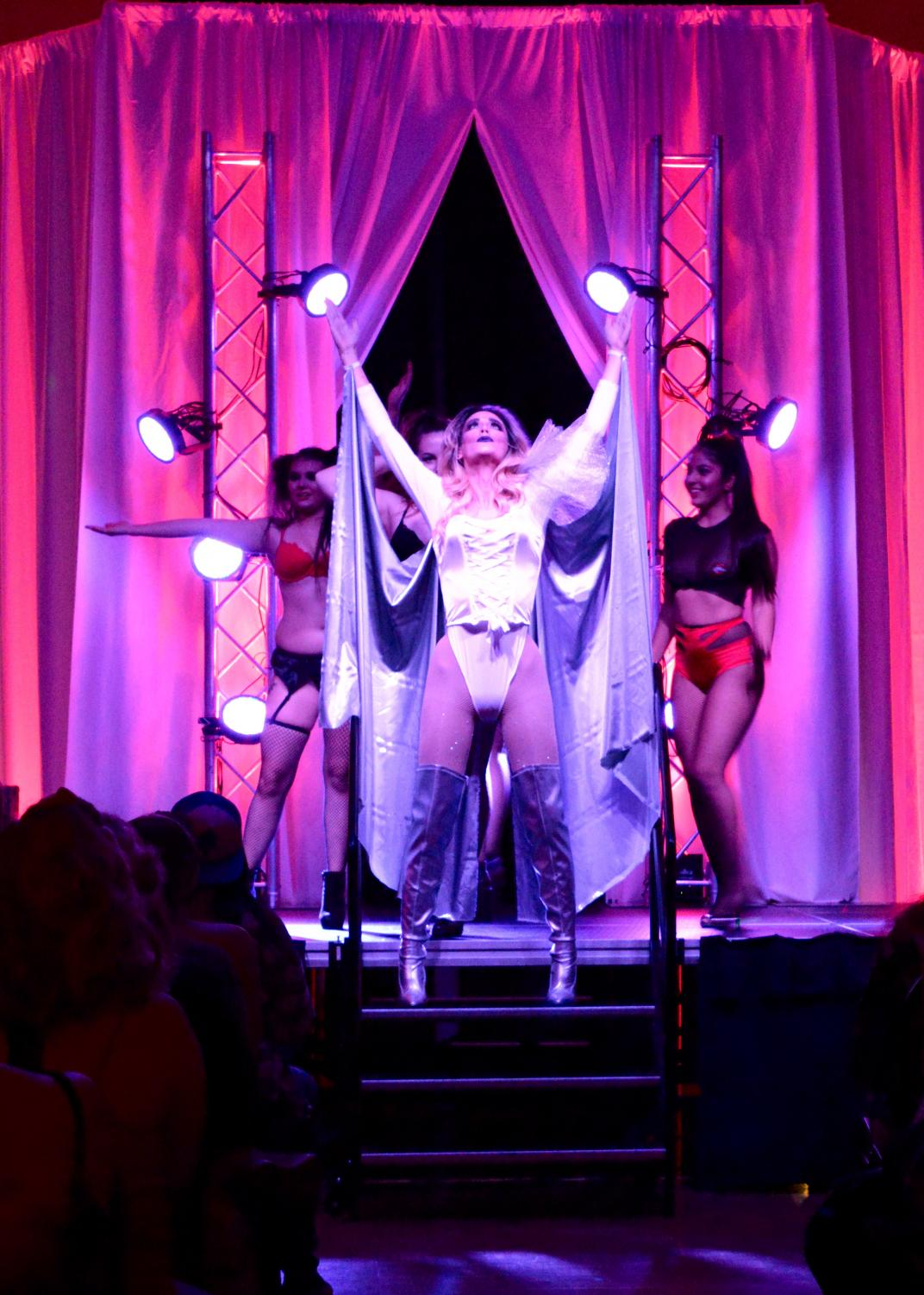 Matthew Akre, AKA Tiffany Blue, as Venus performing the opening act of Rocky Horror Picture Show.
