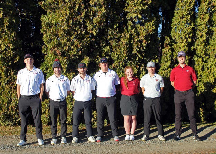 CWU Golf Team is headed to nationals (Left to Right): Austin Edwards, Garrett Granlund, Eric Fich, Caleb Bryant, Maddie Douglas, Drew Gradwohl, David Ellithorpe, Bryce Weedman (Not Pictured).