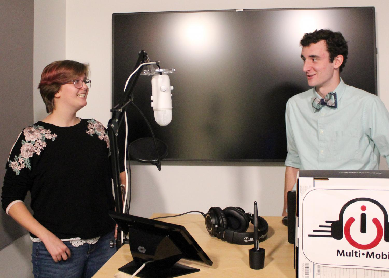 Ryan Oehmen interviews Kaitlin Crook for a podcast in the Samuelson recording studios.
