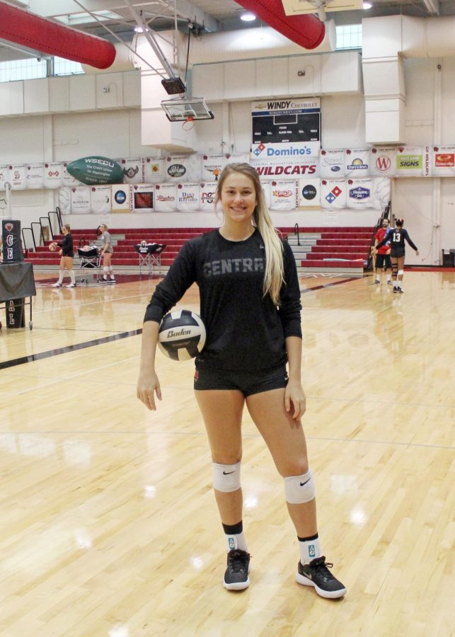Shelby Mauritson (senior) is #5 outside hitter on the women's volleyball team. Her pre-game tradition is that she eats pizza Lunchables and Top Ramen before each game because she thinks it makes the team play better.