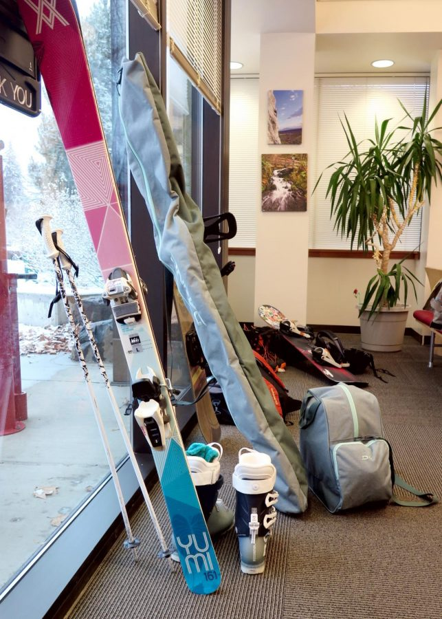 Skis and snowboards can be seen gathered in the OPR along with additional gear and equipment needed for trips like the one to Mission Ridge. This trip can be seen as a great way for students to bring in the new year.