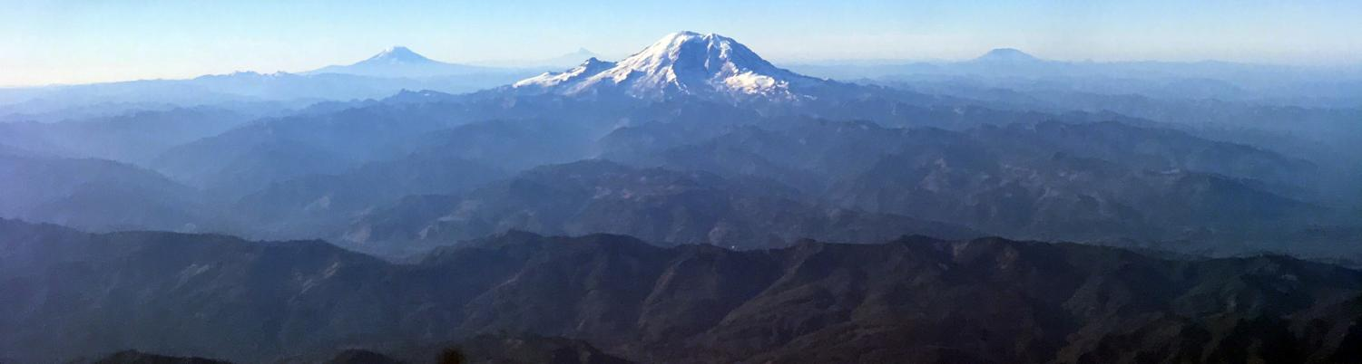 Departing from SEATAC on a clear day offers views of the cascade mountain range. The cascades give opportunity to hiking, skiing and snowshoeing to all who live nearby.