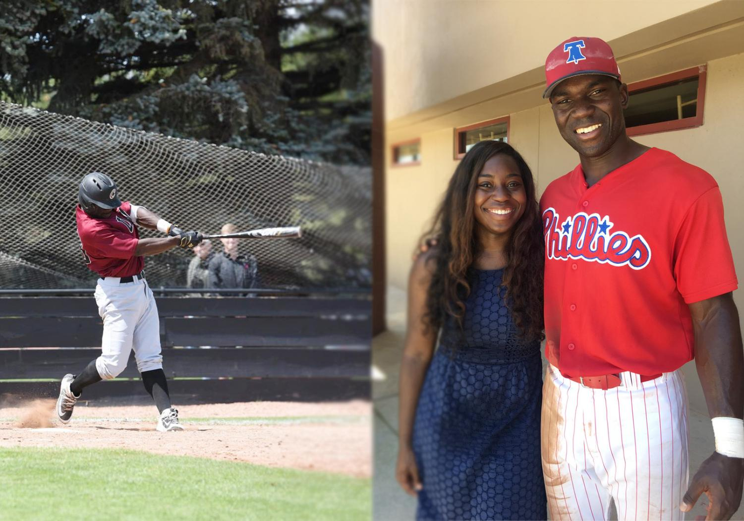 (Left) Smith III while playing at CWU. (Right) Smith III alongside his sister. Smith III is now officially a part of the Philadelphia Phillies organization.