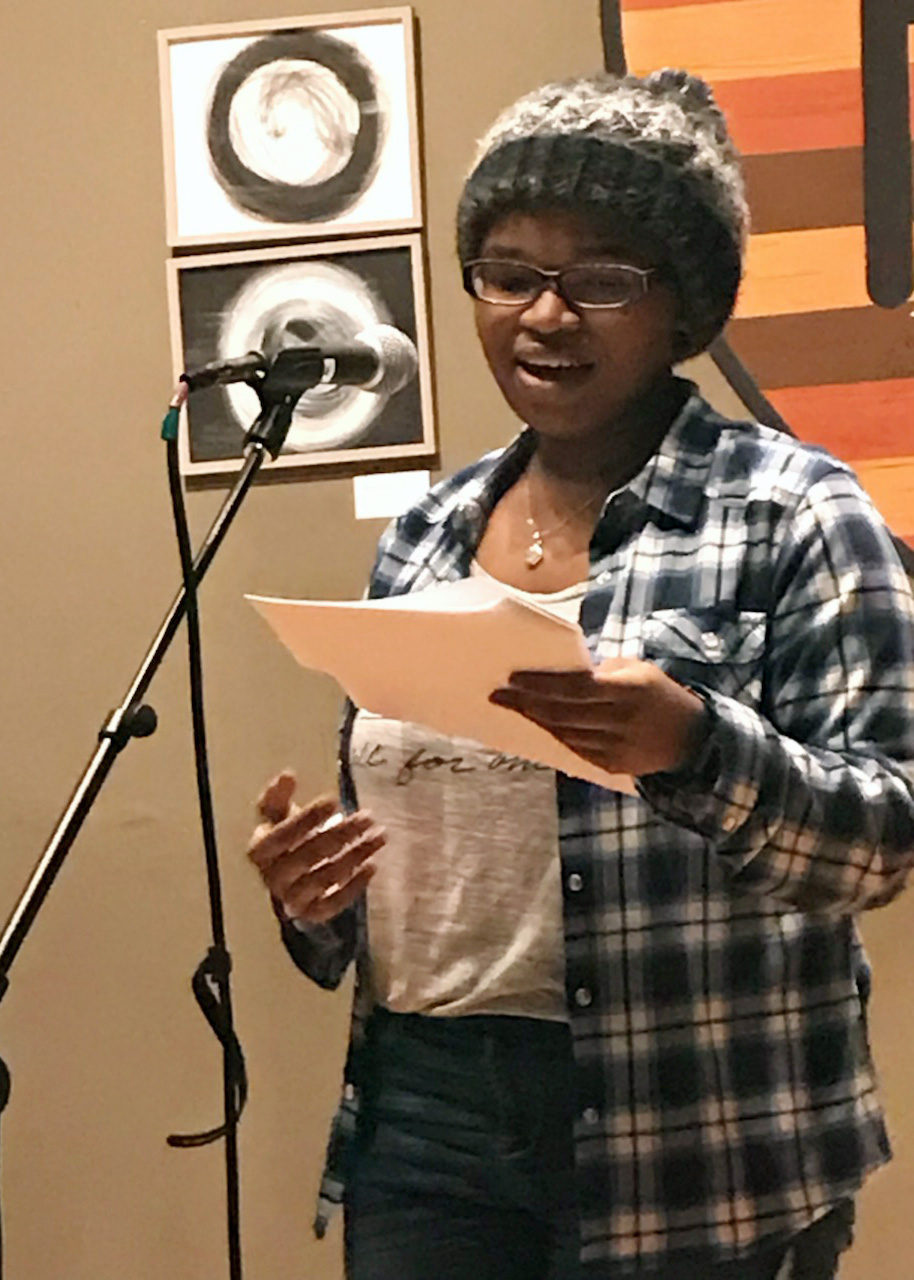 "TyYonna Kitchen performed the poem, ""Take a Bow"" at the Open Mic Night at The Porch on Feb. 13."