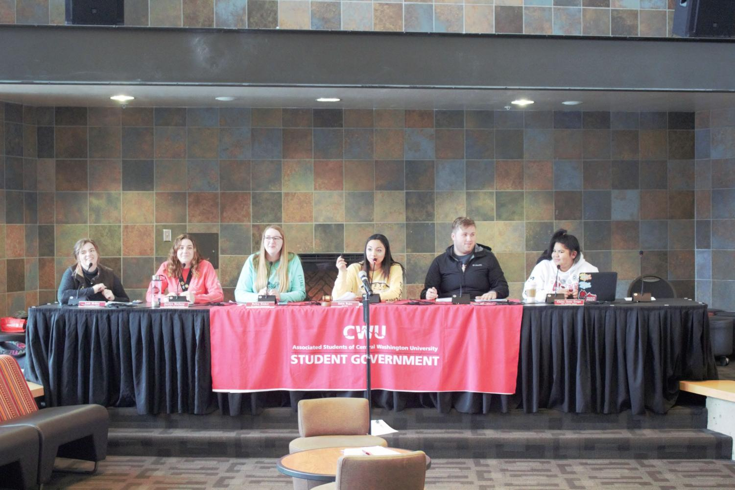 ASCWU has an open public meeting in the SURC pit every Monday. From left to right: Leah Mobley, Jocelyn Matheny, Bailey Klinker, Edith Rojas, Kane LeMaster and Claire Anne-Grepo.