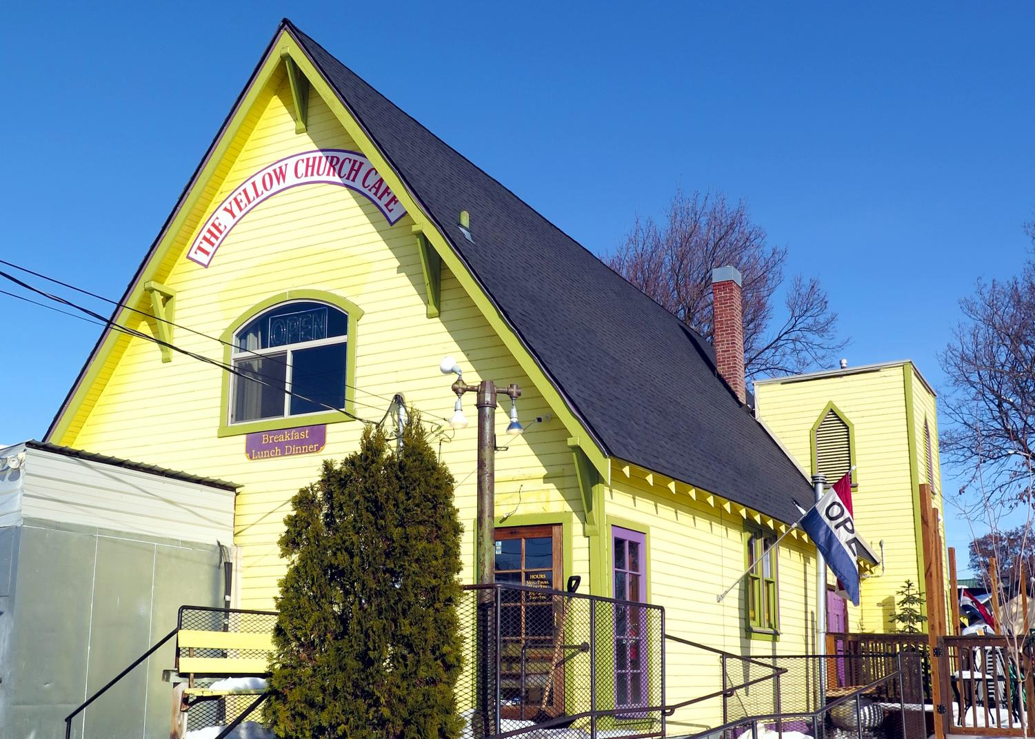 The Yellow Church Café, located at 111 S Pearl Street, is known in the community for its relaxed atmosphere and homestyle cooking. The building is difficult to miss with its bright coloring.