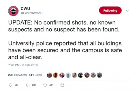 Official university tweet reporting all buildings are safe and there is no confirmed shots or suspects.
