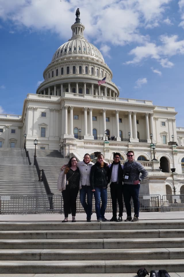 Students from the Pre-Medical Club stand outside of the White House at their conference in Washington D.C.