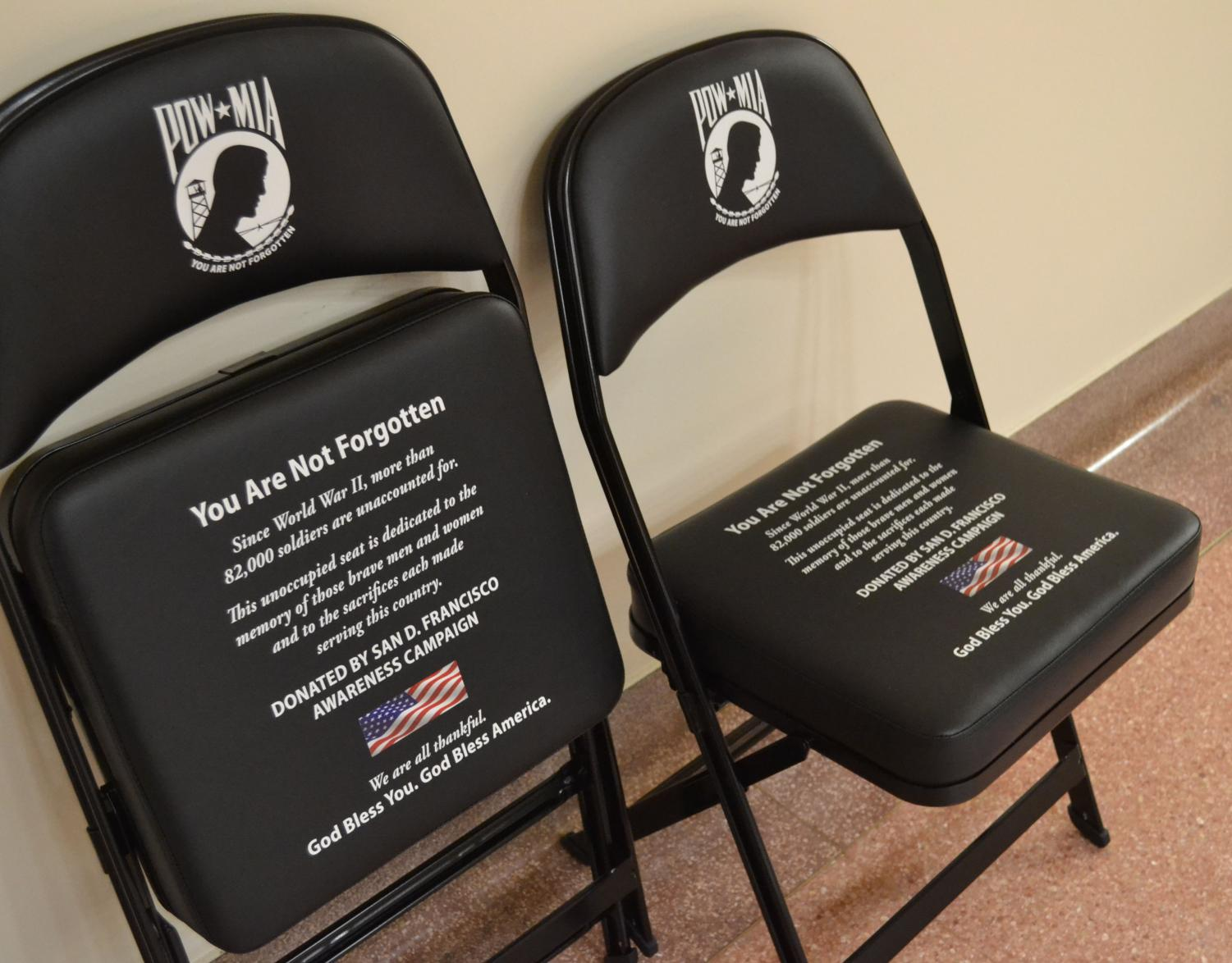 These chairs are to remain unoccupied to honor the soldiers that didn't come home. One chair will be sent to the Veterans Center at CWU and the other will split its time between the different CWU ROTC departments.