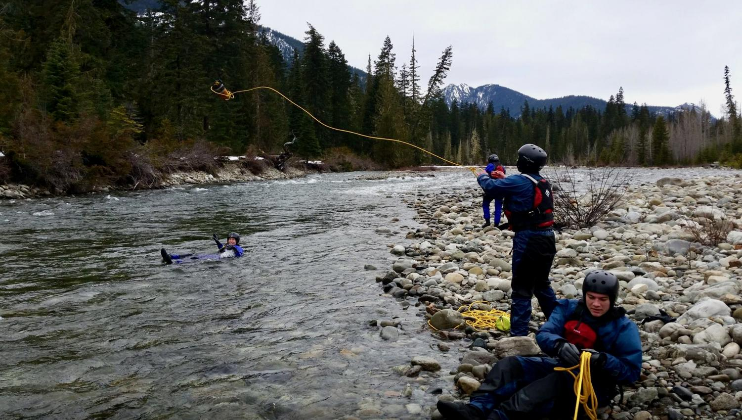 The swift water rescue course teaches various knots, pulley systems and craft-recovery techniques. Trainees also learn how to recover, retrieve and transport people who have lost control in the river. Gear is provided by OPR.