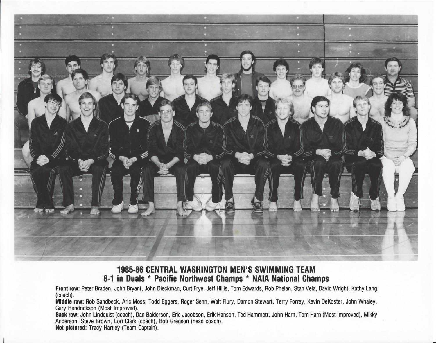 The 1986 NAIA National Championship Men's Swimming Team finished their season with 381 points and eight national titles. They won three relay races and five individual titles. Stan Vela was awarded outstanding swimmer.