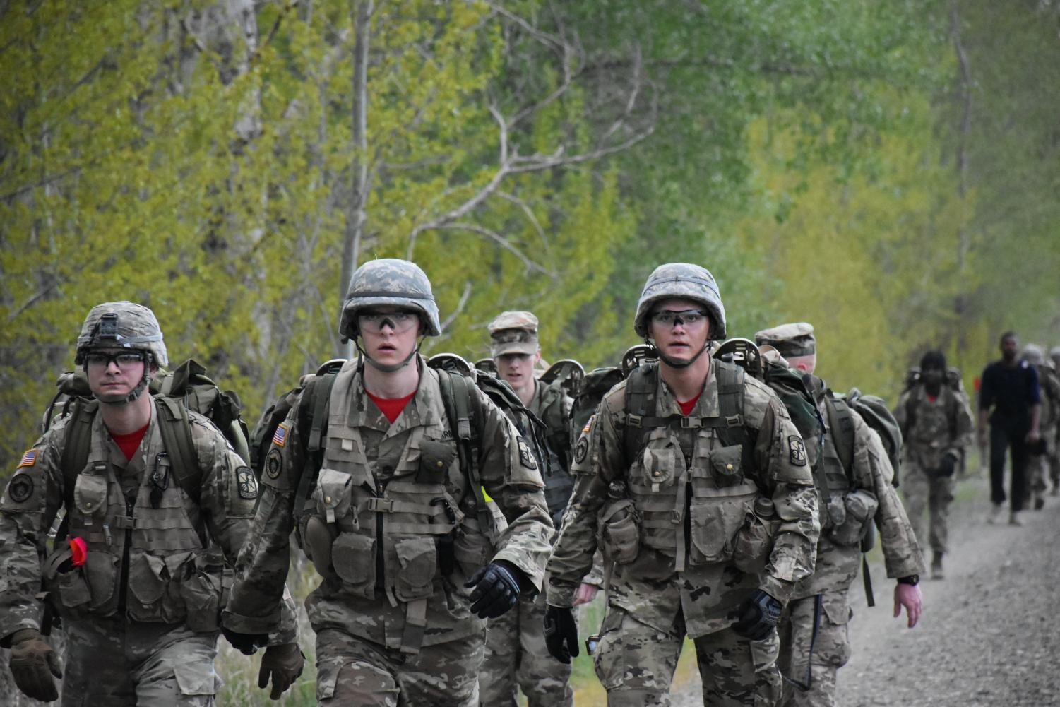 The John Wayne Trail hike is one of the methods ROTC uses to help cadets stay in combat-ready shape. Cadets must trek six miles with 30-40 pound backpacks.