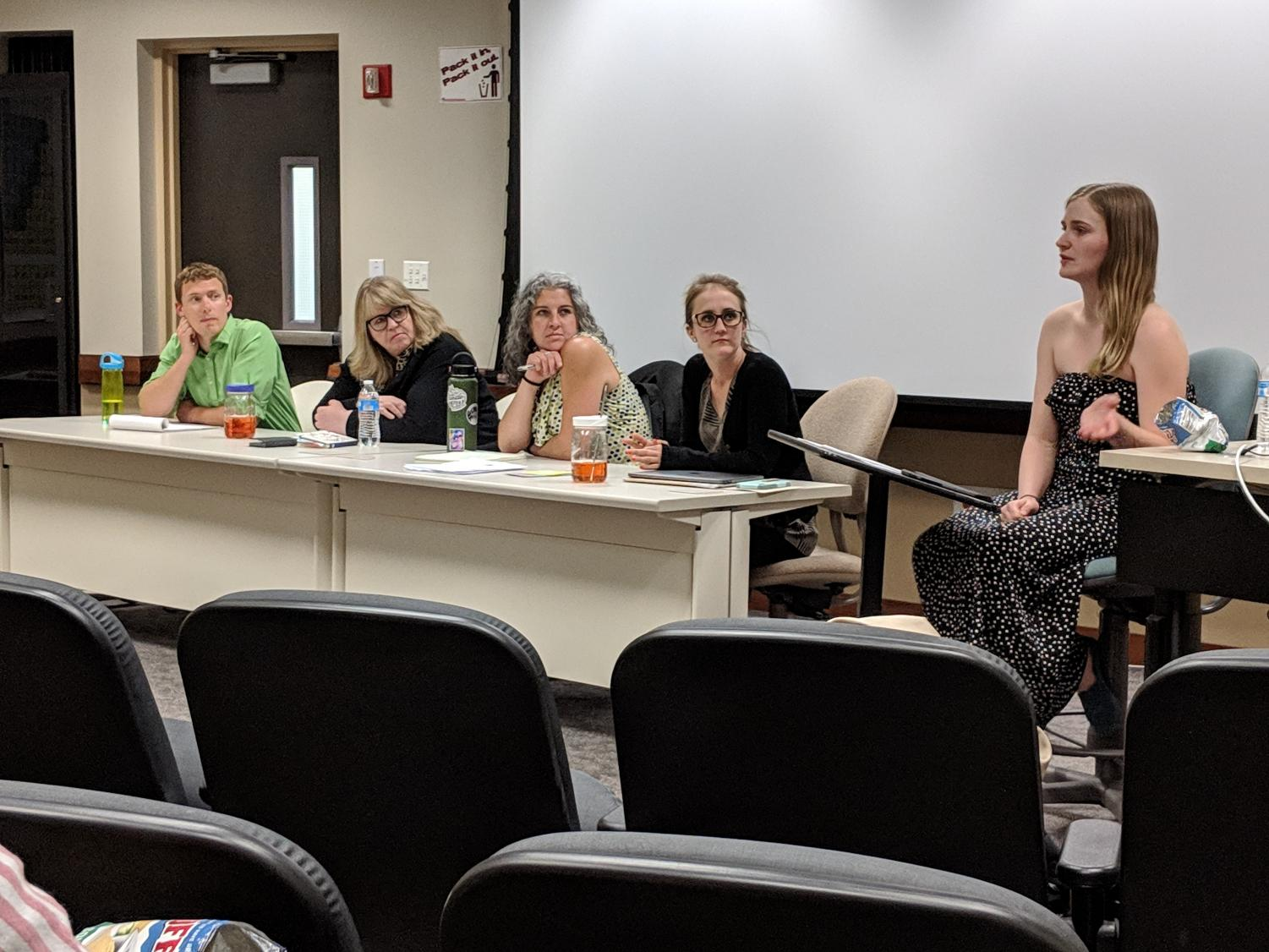(Left to right) Joshua Nelson-Ichido, Jamie Gilbert, Dr. Meaghan Nolte and Dr. Arrington Stoll listen to Mariah Greenaway leading discussion with the student audience.