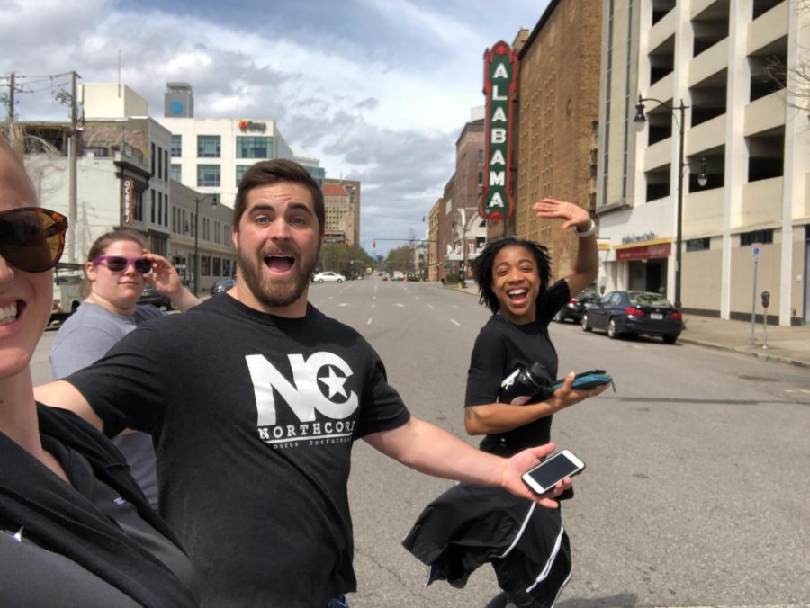Left to right: assistant coach Brittany Aanstad, senior Samantha La Rue, assistant coach Wyatt Meyring and senior Erykah Weems explore downtown Alabama, not knowing the National Championships were going to be cancelled.