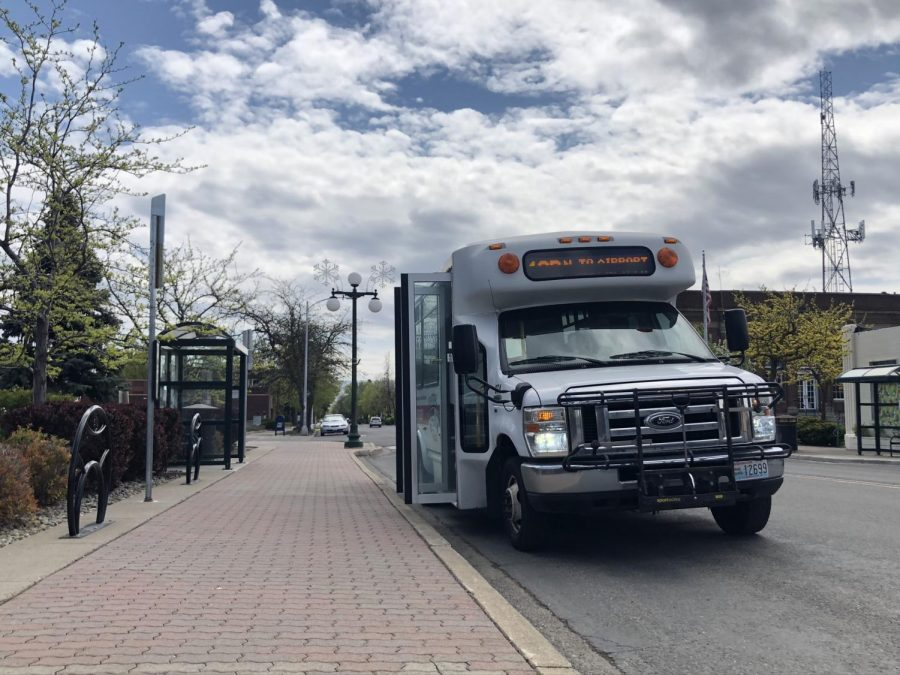 In response to the COVID-19 outbreak, riders have been encouraged to distance themselves when inside the transit bus and to avoid usage when ill. Most buses were noticeably empty when arriving at their regularly scheduled stops.