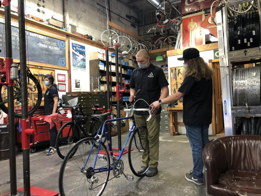 The+ReCycle+Bicycle+shop+has+been+booked+with+repair+orders+and+an+increase+in+new+customers+since+the+beginning+of+the+COVID-19+pandemic.+Service+Manager+Colton+Beutel+suggests+that+people+may+be+seeking+alternatives+to+staying+inside+due+to+the+shutdown.