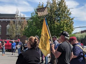 Protesters gather at county courthouse