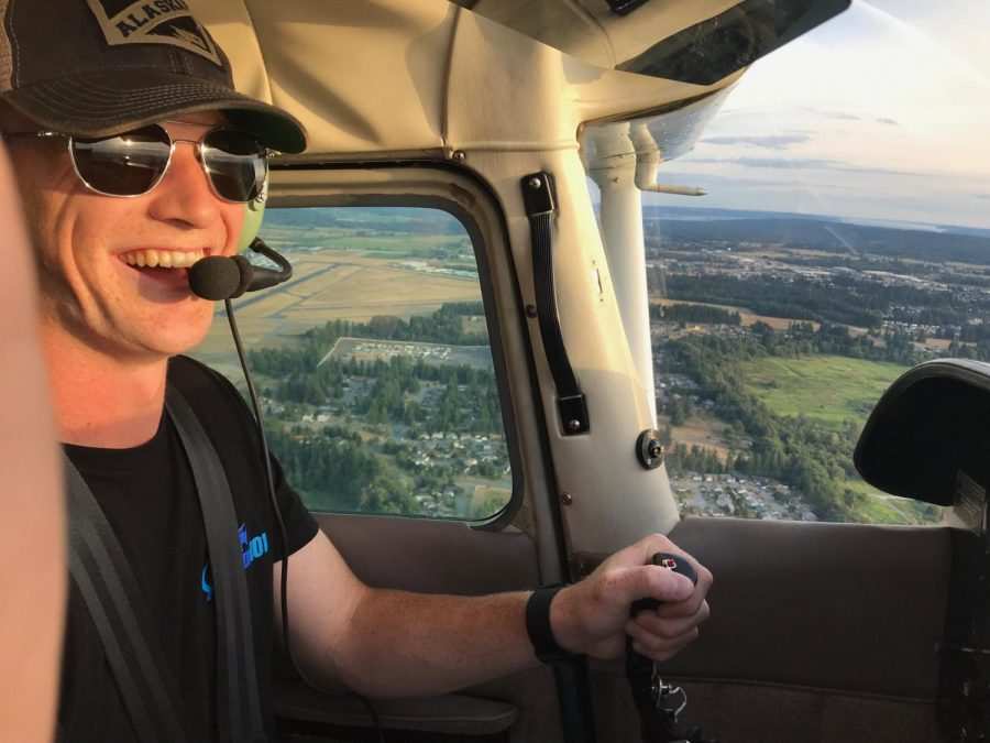 CWU junior Jonah Gilley piloting a small aircraft from Arlington to Bellingham.