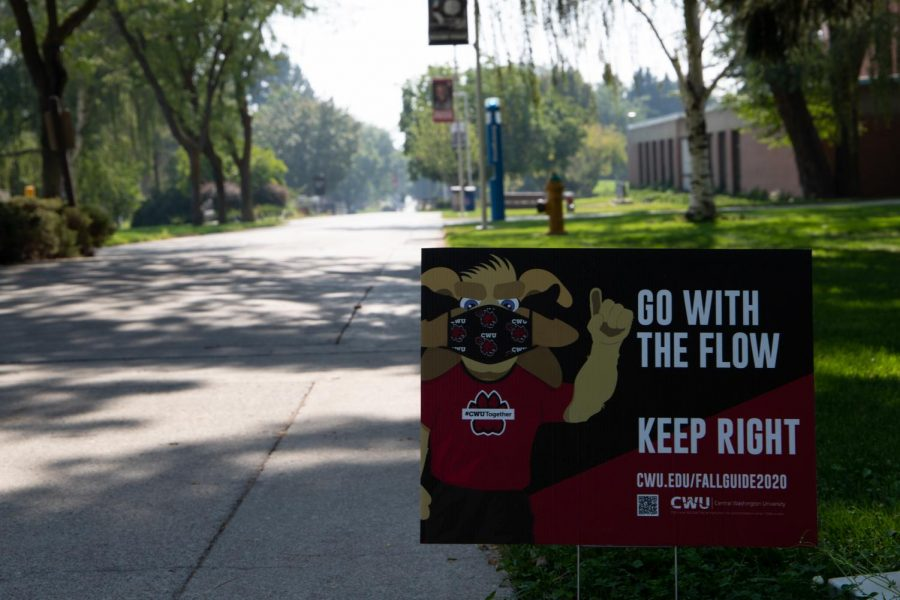 """""""Go with the flow"""" CWU sign prompting students to stay safe and distanced"""