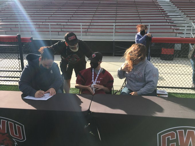 Top recruit from Team IMPACT, Jarred Francis (middle) signed with CWU football for 2021.