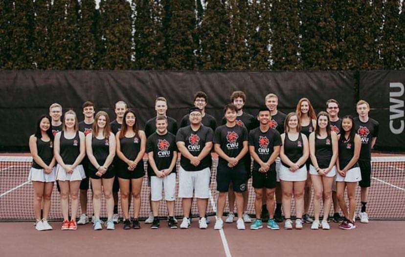 CWU's tennis club takes photo after a practice back during 2019 season. Tennis club members patiently await for competition to resume in 2021.
